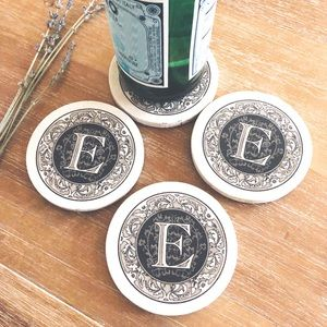 """ThirstyStone Coaster Set with Letter """"E"""" Initial"""